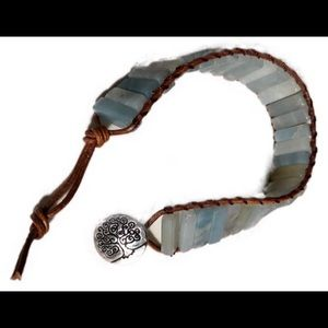 Boho jade & leather bracelet